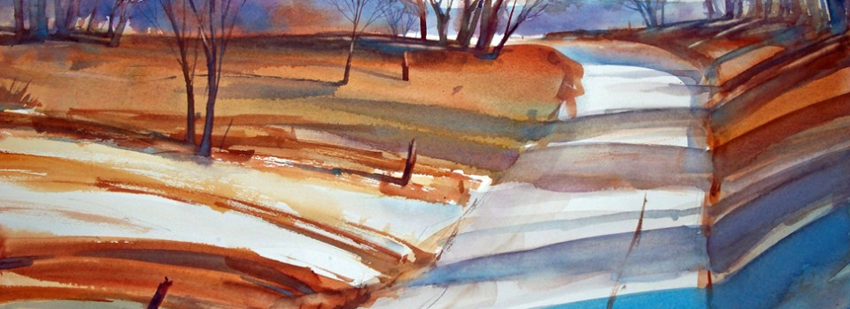 Equinox Road - watercolor landscape painting by Tony Conner