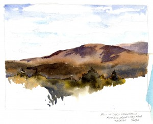 Plein Air sketch - Cloud Shadows on the Green Mountains