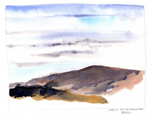 Plein Air sketch - cloudy sky and shadowed mountain top