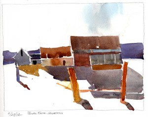 Feb. 23, 2012 - Pownal Farm, Simplified - watercolor plein air sketch by Tony Conner