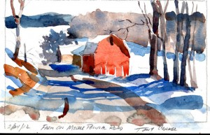 Feb 24, 2012 - Farm On Middle Pownal Road, Pownal, Vermont  - watercolor plein air sketch by Tony Conner