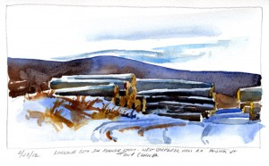 Feb. 25, 2012 - Logging Site at the End of Carpenter Hill Road, Pownal, Vermont - watercolor plein air sketch by Tony Conner