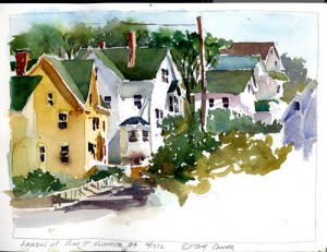 Looking Up Plum St. , Gloucester Massachusetts - watercolor plein air sketch by Tony Conner