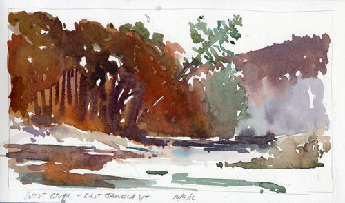 """West River Near Rt100, East Jamaica, Vermont"" - watercolor plein air sketch by Tony Conner"