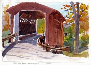 SilkRoadCoveredBridge, AutumnMorning - watercolor plein air sketch by Tony Conner