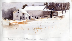"""Farm on Burrington Road, Pownal Vermont"" - watercolor plein air landscape sketch by Tony Conner"