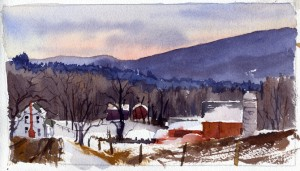 Winter Afternoon On Mt Anthony Road, Pownal Vermont - watercolor plein air landscape sketch by Tony Conner