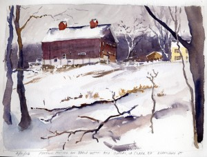 Pigeons On Barn With Red Cupolas, LaClairRd, Shaftsbury, VT - watercolor plein air sketch by Tony Conner