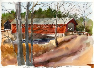 Henry Bridge in Winter Sunlight - watercolor plein air sketch by Tony Conner