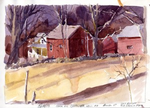 Farm On Carpenter Hill Road, Pownal, VT - plein air watercolor sketch by Tony Conner