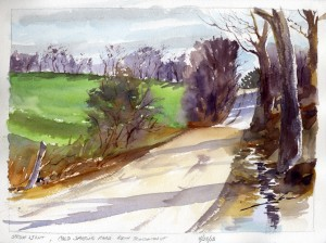"""Spring Light, Cold Spring Road, North Bennington, Vermont"" - watercolor plein air landscape sketch by Tony Conner"