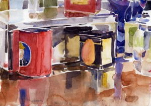 """More Objects On Dresser""  - watercolor still life sketch by Tony Conner"