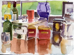 Objects on Top of Dresser - watercolor still life sketch by Tony Conner
