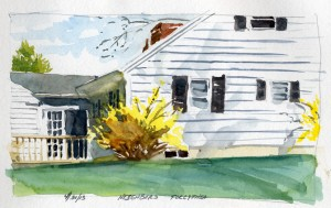 Neighbors Forcythia - watercolor plein air landscape sketch by Tony Conner