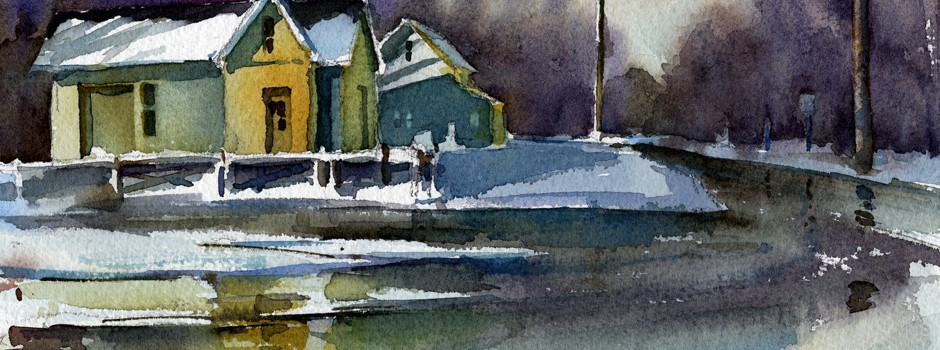 """Scene From February"" - watercolor landscape painting by Tony Conner"