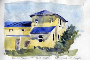 Yellow House With Blue Roofs, Granville NY - watercolor plein air sketch by Tony Conner