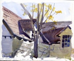Taraden Scene, NorthBenningtonVT - watercolor plein air sketch by Tony Conner