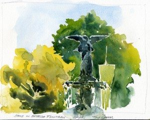 Bethesda Fountain Statue, New York NY- watercolor plein air painting by Tony Conner
