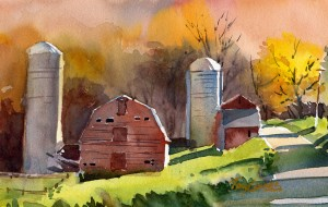 West Arlington Farm - watercolor plein air landscape painting by Tony Conner