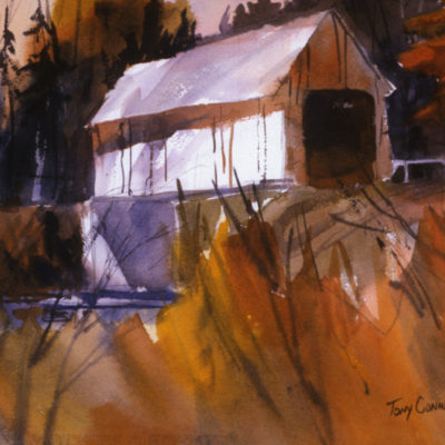 """AUTUMN BRIDGE"" - limited edition giclee' print from original watercolor painting by Tony Conner"