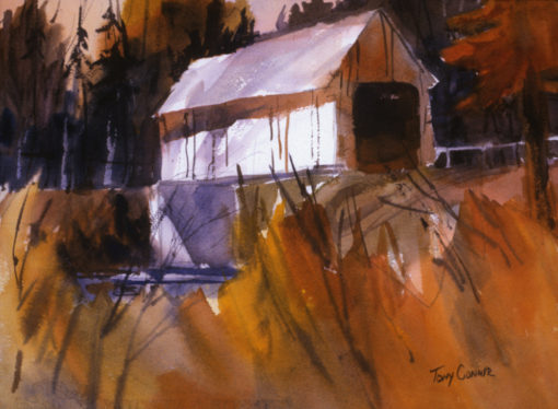 """""""AUTUMN BRIDGE"""" - limited edition giclee' print from original watercolor painting by Tony Conner"""