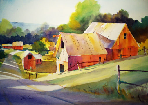 Afternoon Farm - limited edition giclee' print from original watercolor painting by Tony Conner