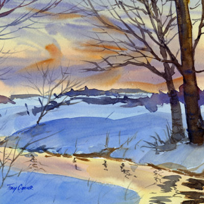 Winter Light Evening- limited edition giclee' print from original watercolor painting by Tony Conner