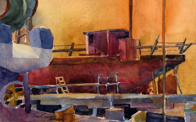 """""""Drydock After Hours"""" – Watercolor Plein Air Painting"""