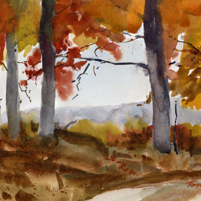 """""""Good In Gold"""" - watercolor plein air landscape painting by Vermont artist Tony Conner"""