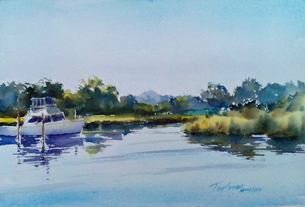 """Crabtown Creek"" – watercolor en plein air seascape painting"