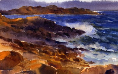 """""""Evening Surf, Bass Rocks"""" – Watercolor Seascape Painting"""