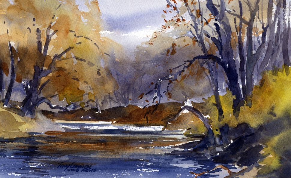 """""""Banks of the Walloomsac"""" – light and atmosphere in late autumn"""