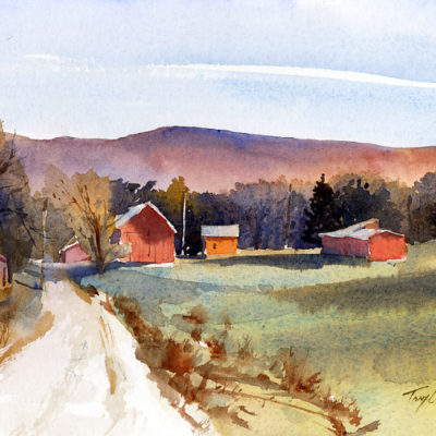 Crossroads - en plein air watercolor landscape painting by Tony Conner