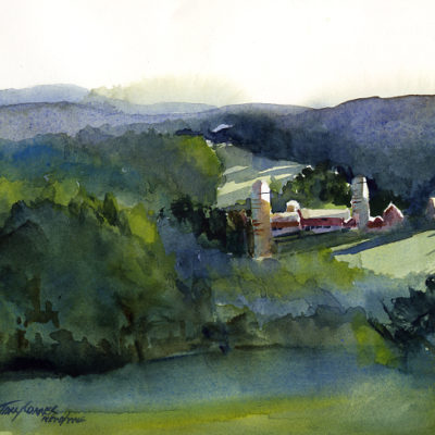 From Burrington Road - en plein air watercolor landscape painting by Tony Conner