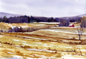 Three Fields - en plein air watercolor painting by Tony Conner