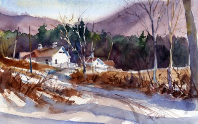 """Depot Road"" – en plein air watercolor painting"