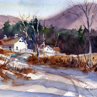 Depot Road - en plein air watercolor painting by Tony Conner