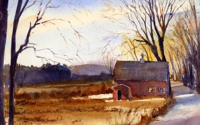 Olden Times – en plein air watercolor landscape painting
