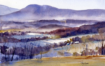 """Shadows & Mist"" – en plein air watercolor landscape painting"