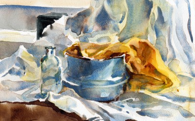 """""""Cerulean Study"""" – watercolor still life painting"""