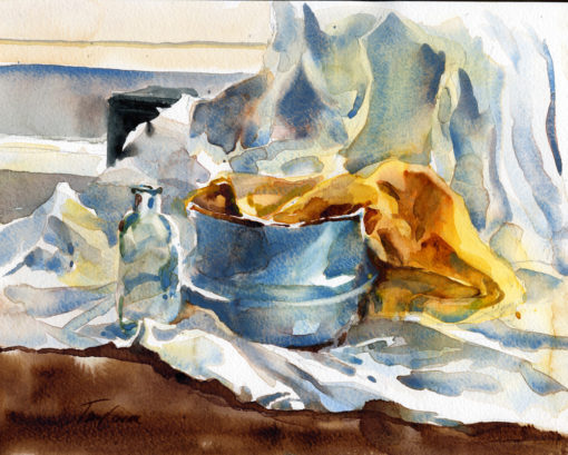 Cerulean Study - watercolor still life painting by Tony Conner