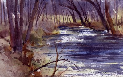 """Early Spring On The Battenkill"" – en plein air watercolor"
