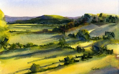 Setting Sun – en plein air watercolor landscape painting