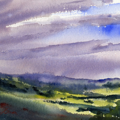 Sun And Rain - en plein air watercolor painting by Tony Conner