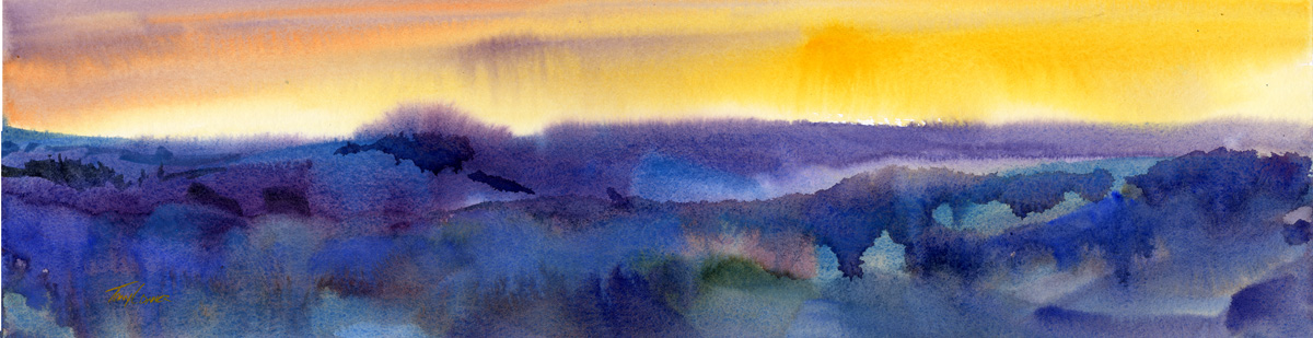 Sunset I - wet into wet watercolor landscape painting by Tony Conner