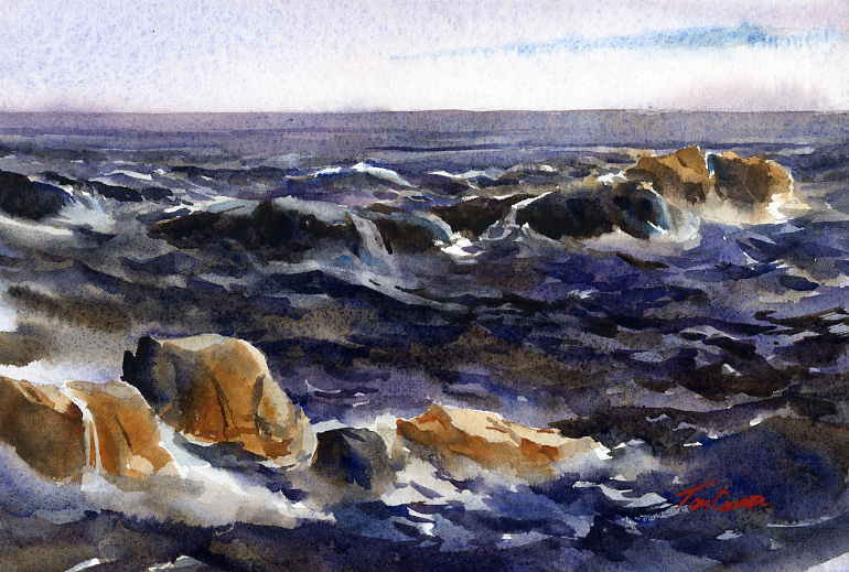 """Back Shore Surf"" – original en plein air watercolor seascape"