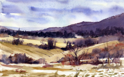 Christmas Eve Morning – en plein air watercolor landscape painting