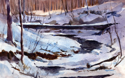"""Fallen Tree Over Frozen Stream"" – en plein air watercolor landscape painting of winter"