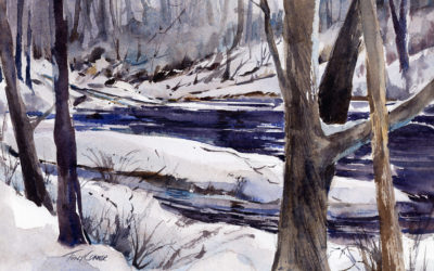"""One For Winter"" – en plein air watercolor landscape painting of winter"