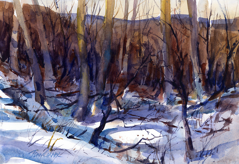 """Gulley In The Woods"" – en plein air watercolor winter landscape painting"